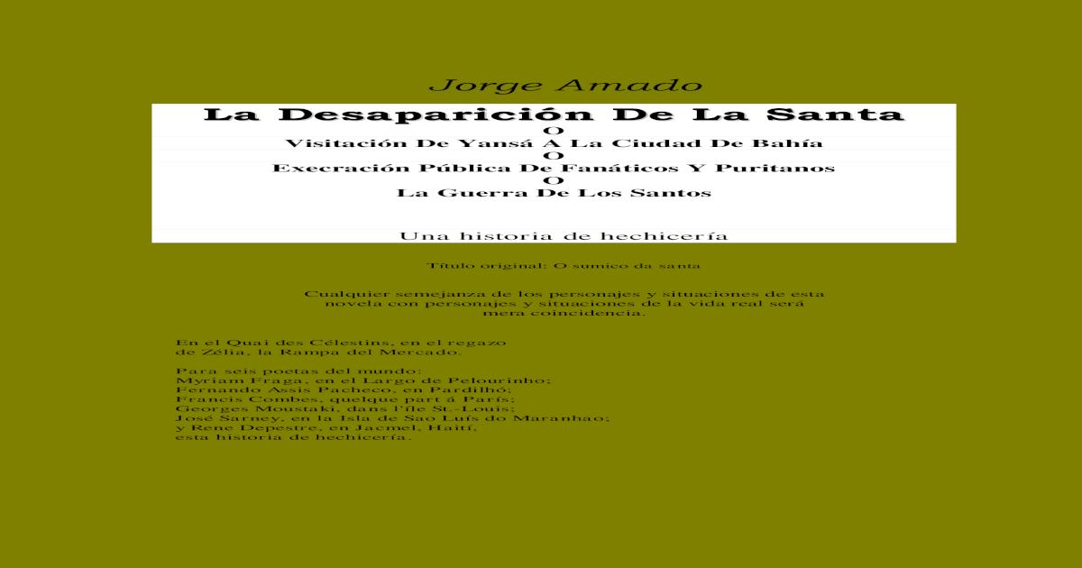 Amado Jorge La Desaparicion De La Santa Pdf Document