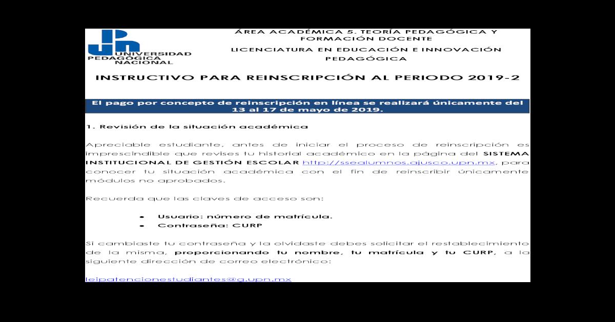 Instructivo Para Reinscripcin Al Periodo 2019 2leip De